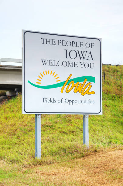 the people of iowa welcome you sign - place sign stock pictures, royalty-free photos & images