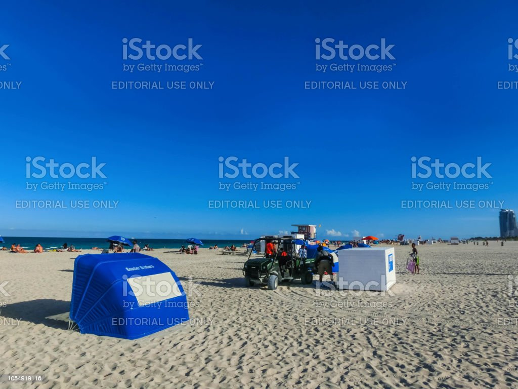 The people resting at South Beach Miami Florida. stock photo