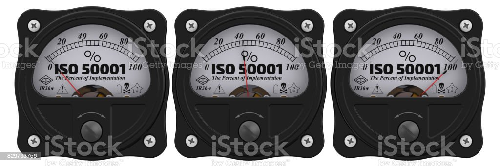 ISO 50001. The percent of implementation stock photo