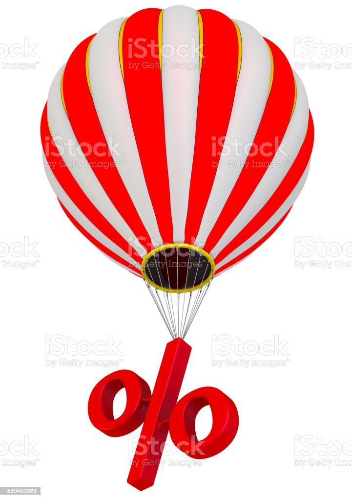 The percent symbol flies in a hot air balloon stock photo
