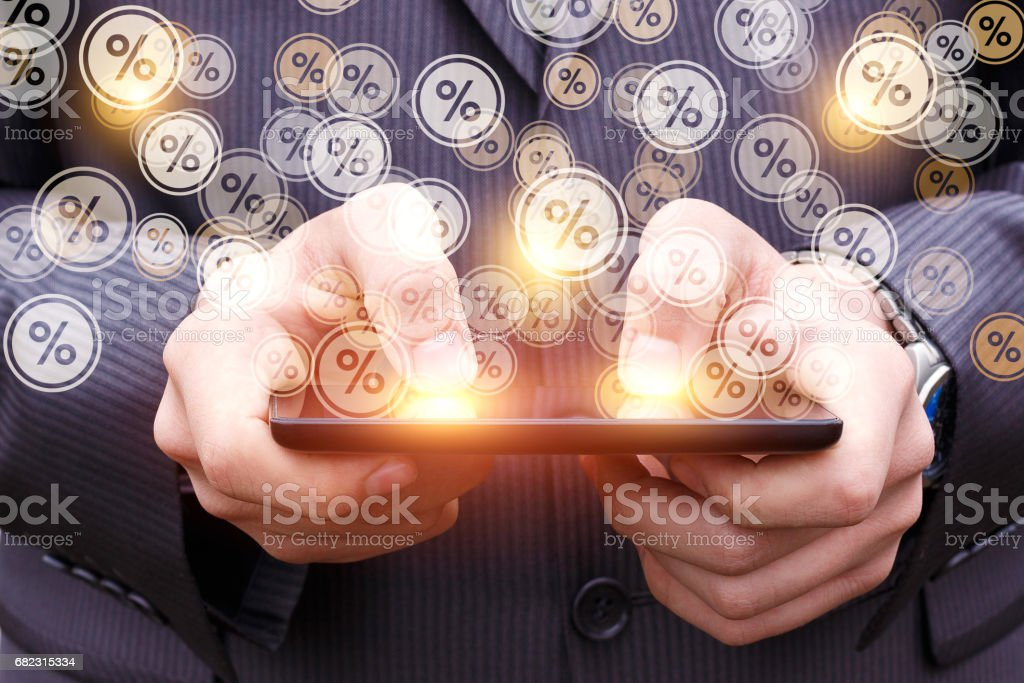 The percentage discount from the tablet. stock photo