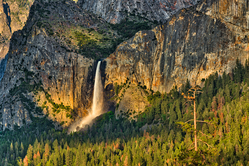 A sunset image of Bridal-veil Fall in Yosemite National Park with the falls glowing from the setting sun