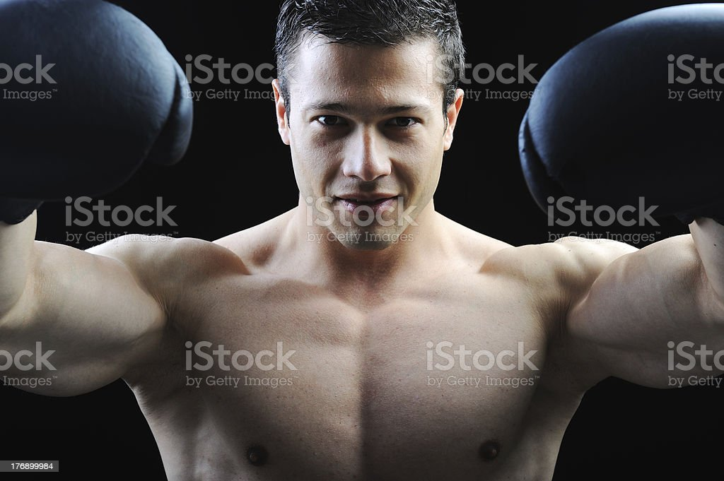 The Perfect male body - Awesome boxing fighter royalty-free stock photo