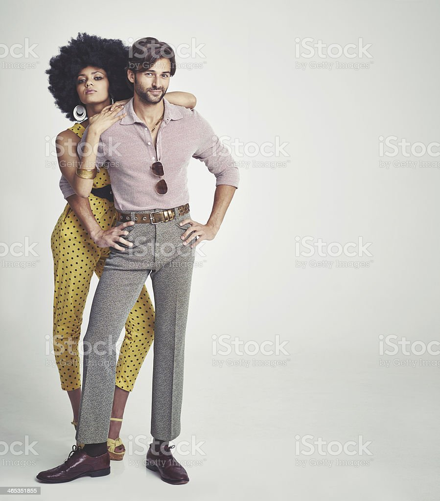 The perfect retro couple stock photo