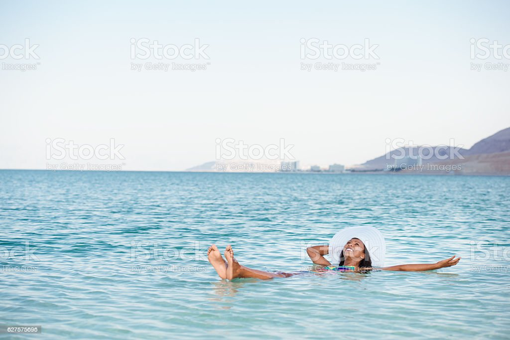 The perfect vacation on salty lake. stock photo