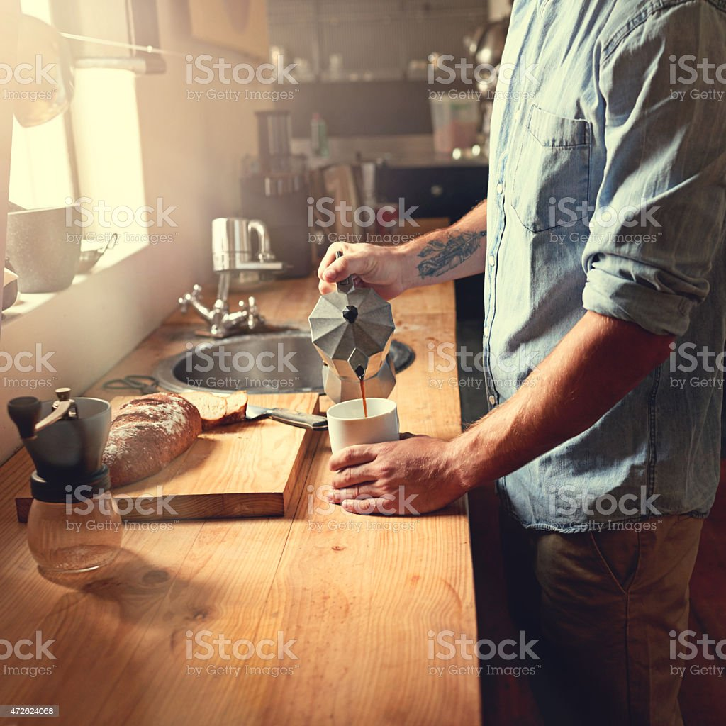 The perfect way to start the day stock photo