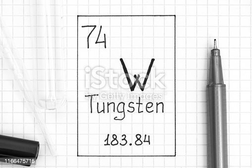 The Periodic table of elements. Handwriting chemical element Tungsten W with black pen, test tube and pipette. Close-up.