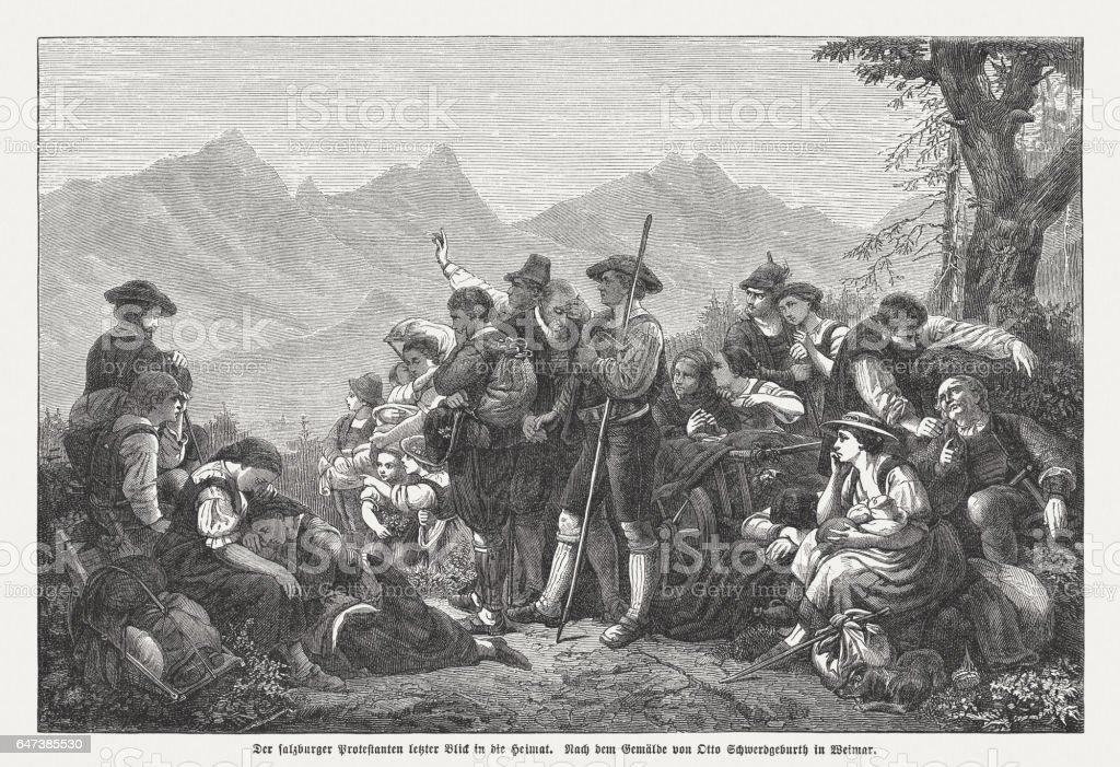 Os protestantes perseguidos de Salzburgo última olhada a 1732 em casa - foto de acervo