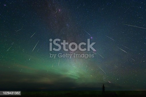 istock The Perseid meteor shower, shot In August 13, 2018, at erenhot, Inner Mongolia china 1029431352