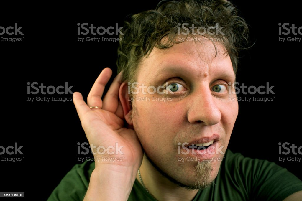 The person listens very attentively. royalty-free stock photo