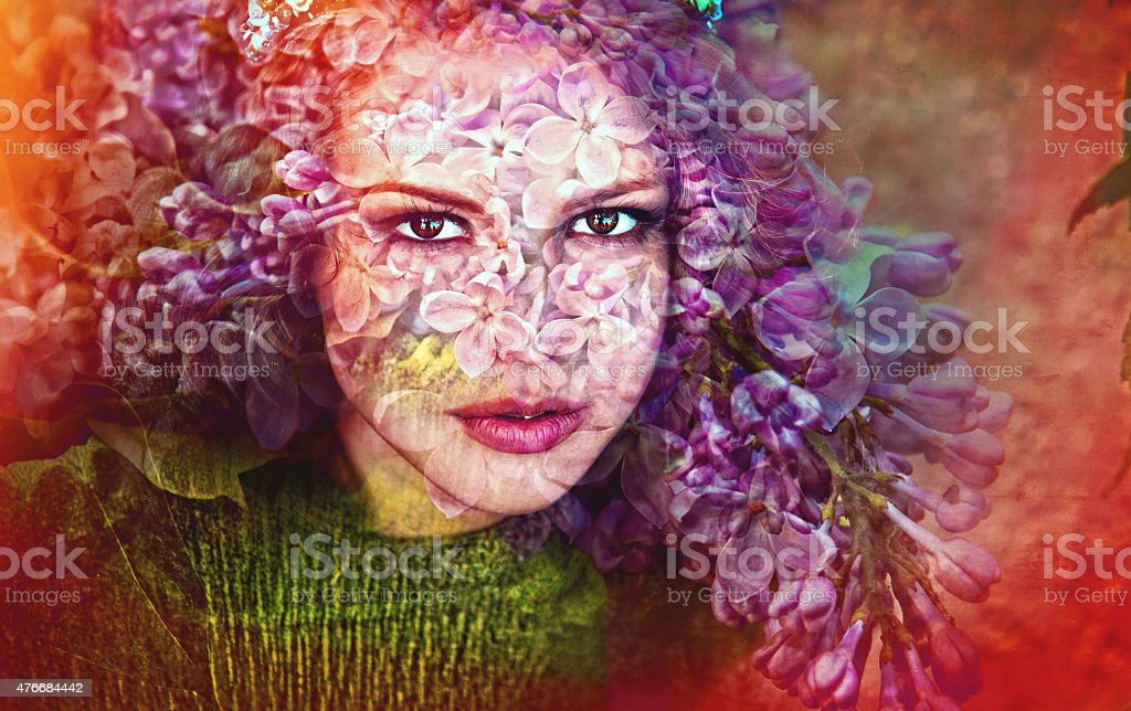 the person of summer, flowers have a soul,summer portrait stock photo