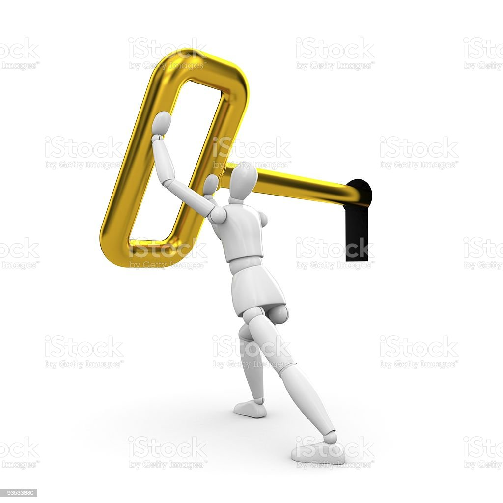 The person turns a key royalty-free stock photo