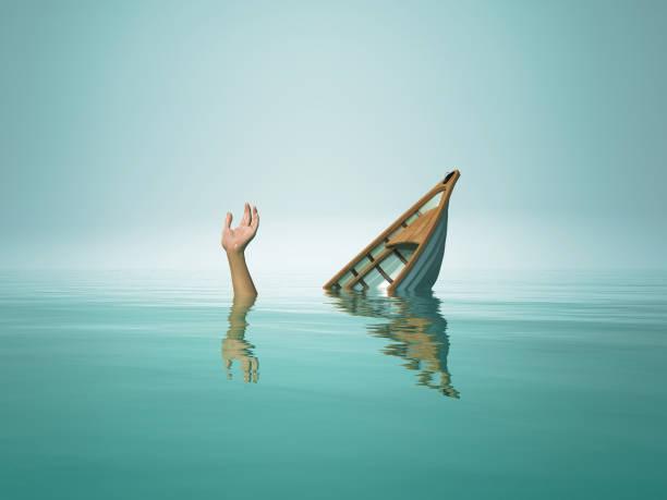 Die Person, die mit dem Boot sinkt. Dies ist ein 3d Render-Darstellung – Foto