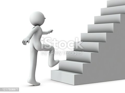 The person who starts going up the stairs. It represents a new challenge. White background. 3D illustration.