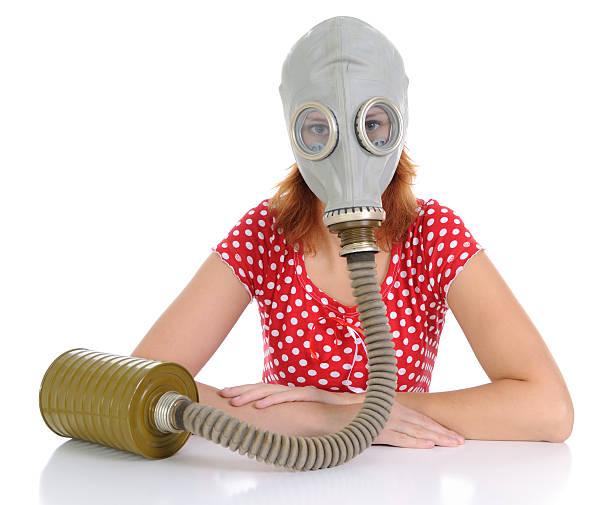 Der person mit Gasmaske – Foto