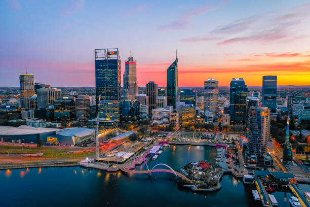 The Perth City skyline during dawn. Perth is the capital of Western Australia stock photo
