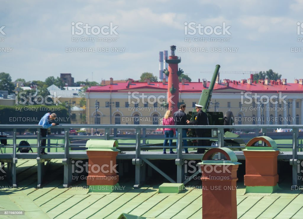 the Peter and Paul fortress officer to prepare for the midday shot stock photo