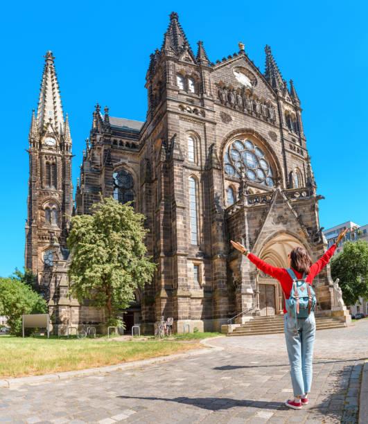 den peterskirche eller st, peter kyrka i leipzig nära centrum - sankt peterskyrkan münchen bildbanksfoton och bilder