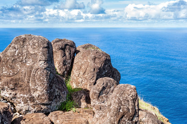 The petroglyphs of Orongo, Easter Island, Chile.