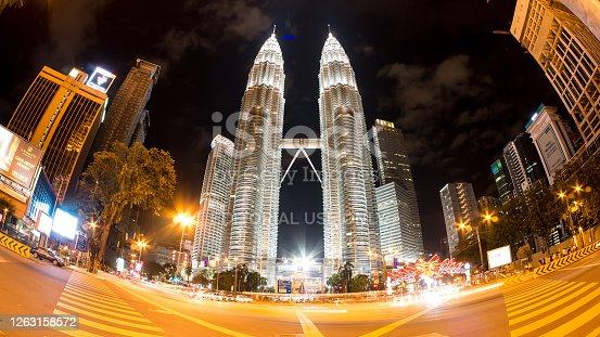 View on the famous Petronas towers on February 07, 2016 in Kuala Lumpur, Malaysia.