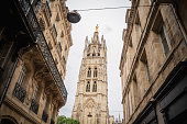 The Pey Berland tower from the streets of the old city of Bordeaux