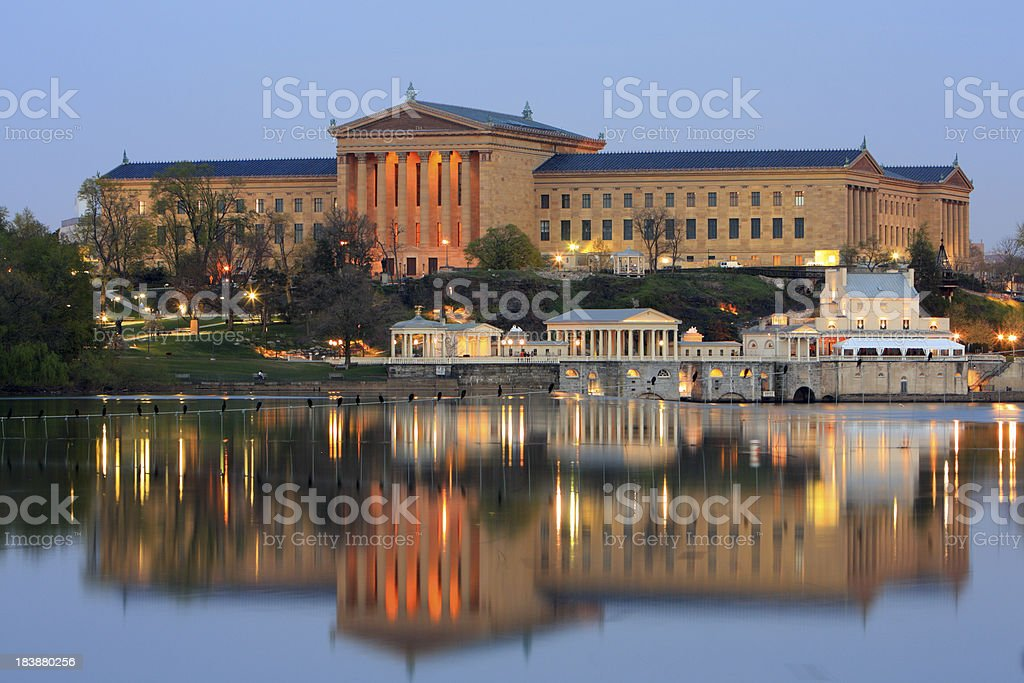 The Philadelphia Museum of Art and water works stock photo