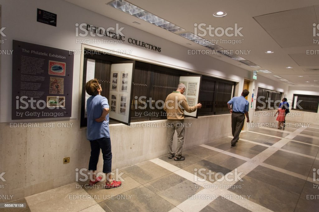 The Philatelic Collection at the British Library in London stock photo