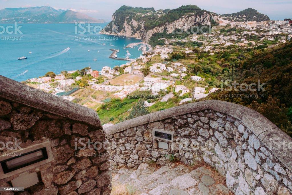 The Phoenician Steps (La Scala Fenicia) of Capri , Italy. stock photo