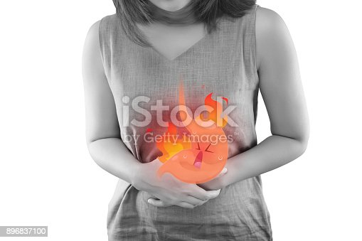 istock The Photo Of Cartoon Stomach On Woman's Body Against White Background, Acid Reflux Disease Symptoms Or Heartburn, Concept With Healthcare And Medicine 896837100