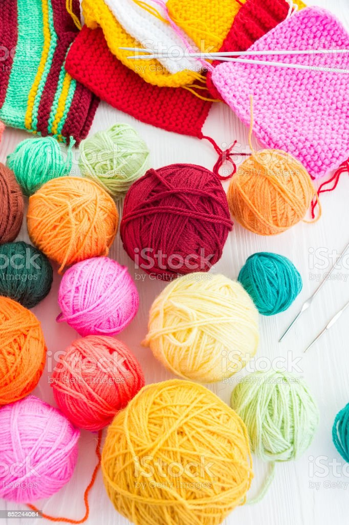 The photo shows the knitting stock photo