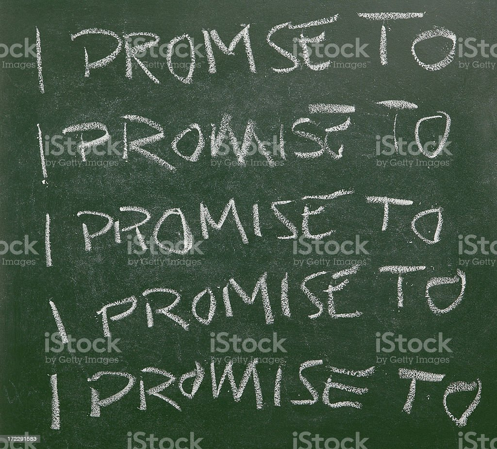 The phrase 'I promise to' written a on chalk board royalty-free stock photo