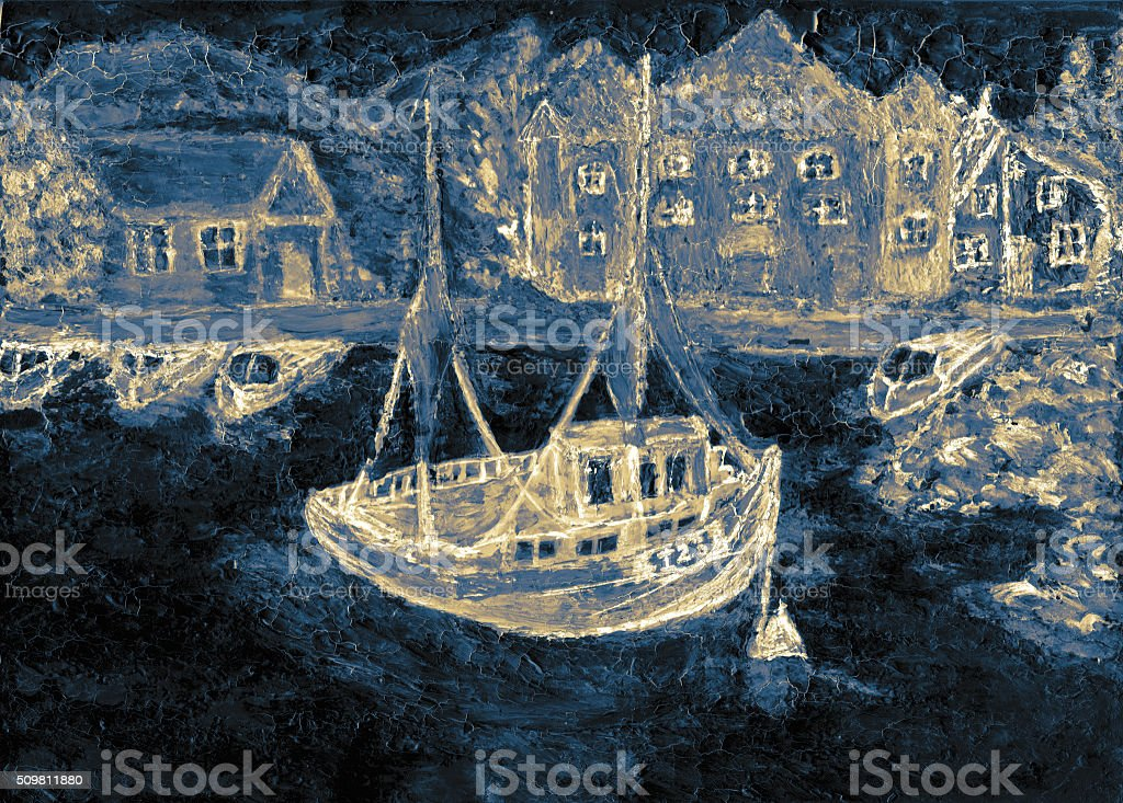 The picture boat in the sea stock photo