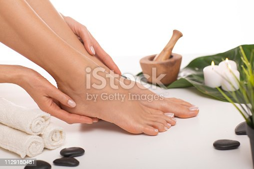 938027870 istock photo The picture of ideal done manicure and pedicure. 1129180481