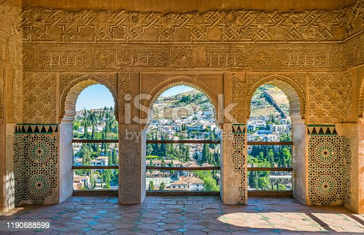 The picturesque Albaicin district in Granada as seen from the Alhambra Palace. Andalusia, Spain.