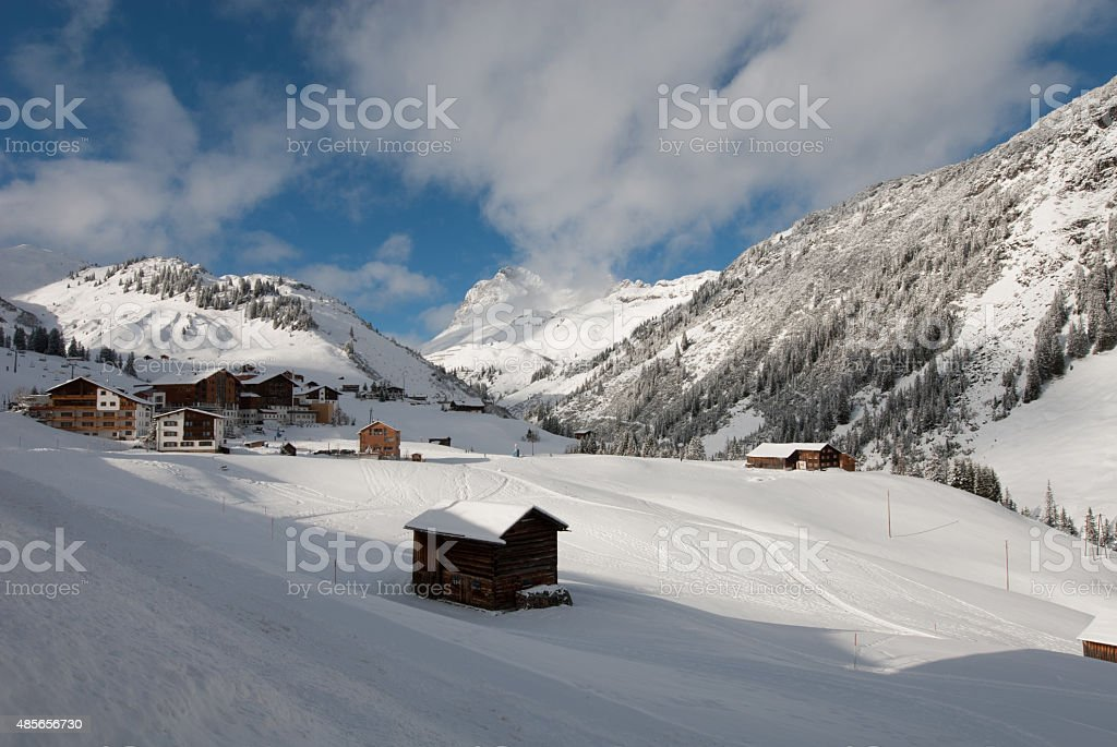 The picturesque alpine village of Warth, Austria stock photo