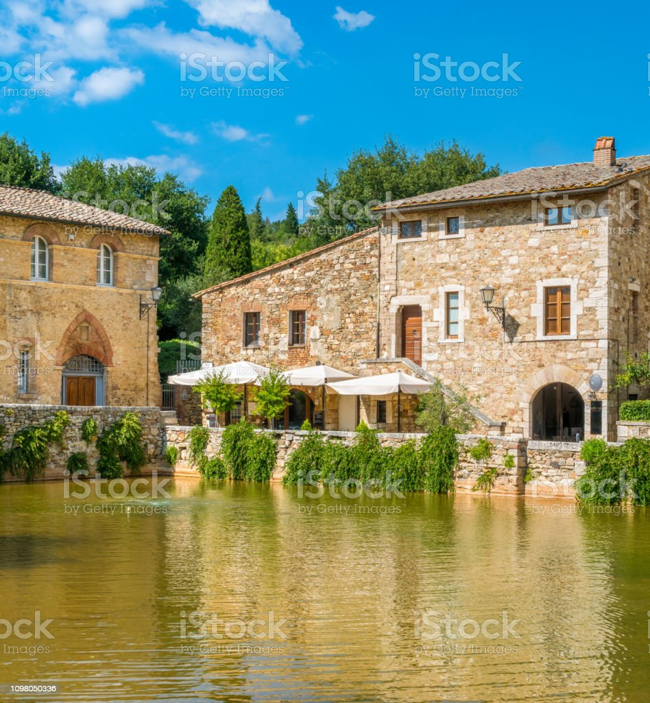 The picturesque Bagno Vignoni, near San Quirico d'Orcia, in the province of Siena. Tuscany, Italy. stock photo