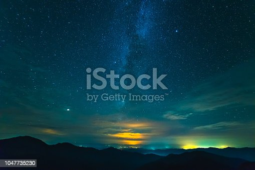 653506436 istock photo The picturesque clouds above mountains. evening night time 1047735230