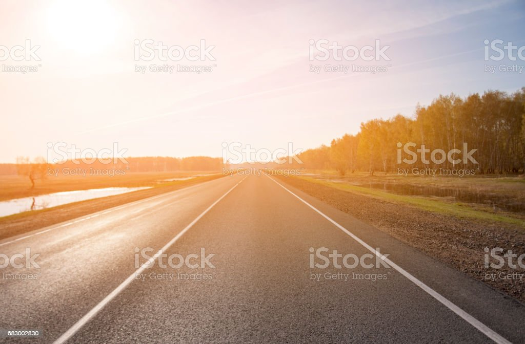 The picturesque landscape and the Sunrise over the road. foto de stock royalty-free