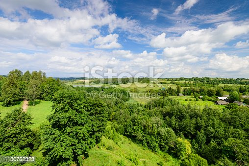 The picturesque natural landscape - summer forest and blue sky, Stary Izborsk, Pskov, Russia
