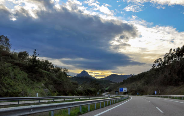 The picturesque road from Bilbao to Oviedo Spain stock photo