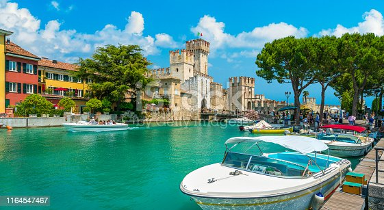 The picturesque town of Sirmione with the Scaligero Castle on Lake Garda. Province of Brescia, Lombardia, Italy.