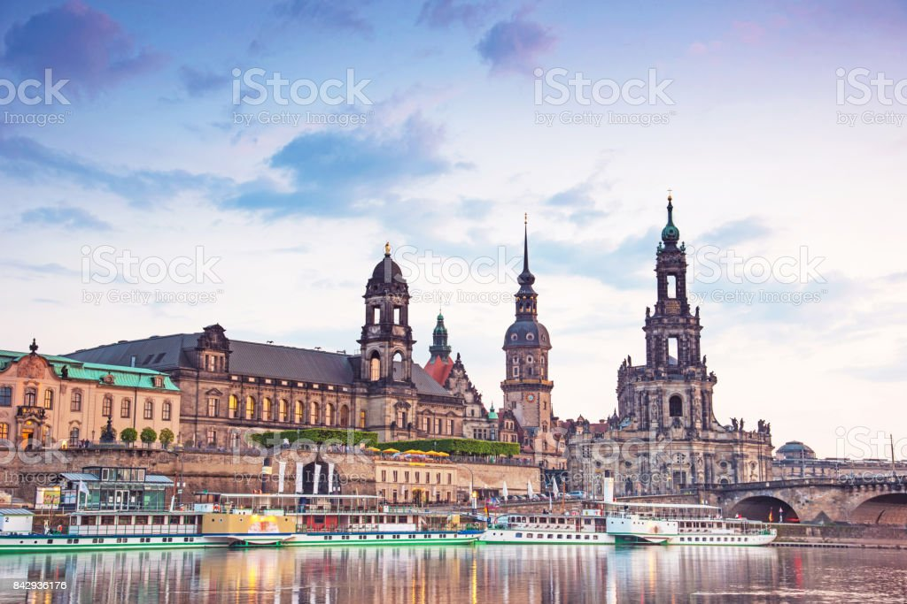 The picturesque view of old Dresden over the river Elbe in evening. Saxony, Germany, Europe. stock photo