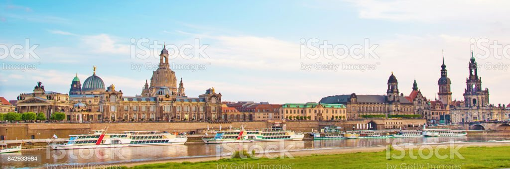 The picturesque view of old Dresden over the river Elbe. Saxony, Germany, Europe. stock photo