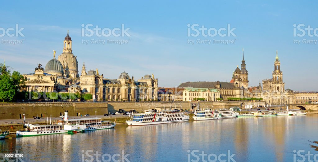 The picturesque view of old Dresden over the river Elbe. Saxony, Germany. stock photo