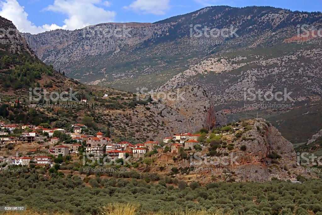 The picturesque village stretches in the valley among Parnassus mountains stock photo