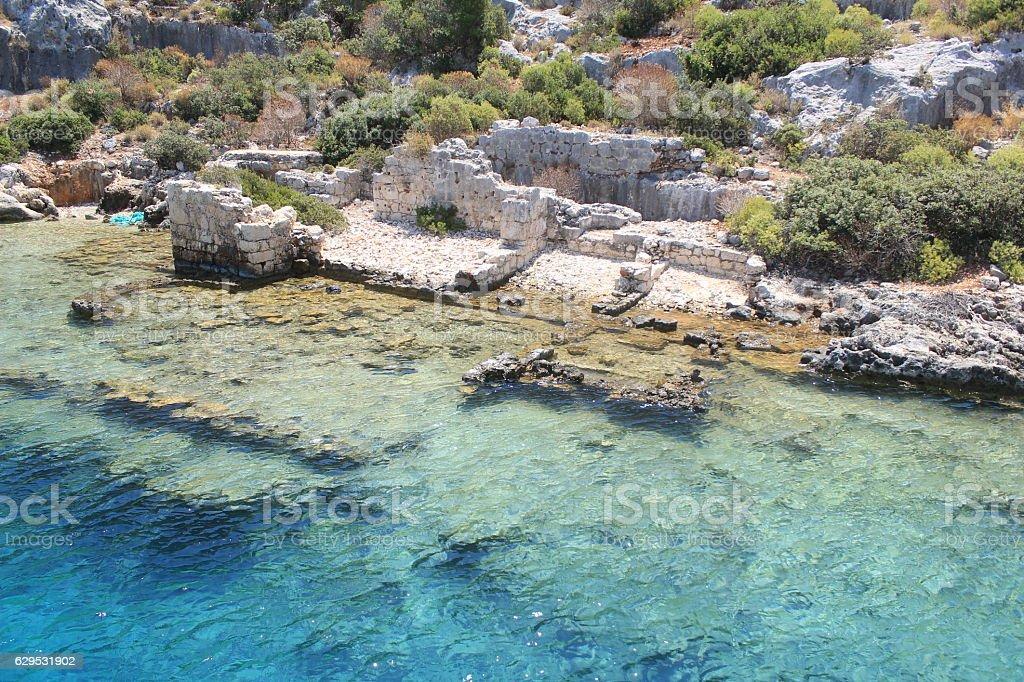 The Piece Of Ancient Land in Kekova stok fotoğrafı