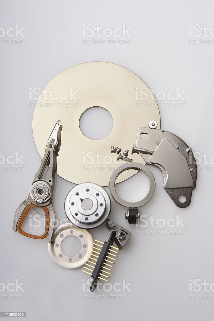 The pieces of a hard disc drive royalty-free stock photo