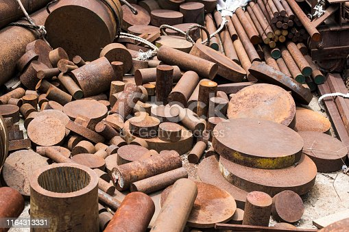 istock The pieces of rusty round steel rod. 1164313331