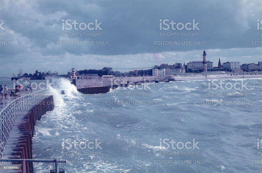 The pier in Warnemünde in stormy weather stock photo