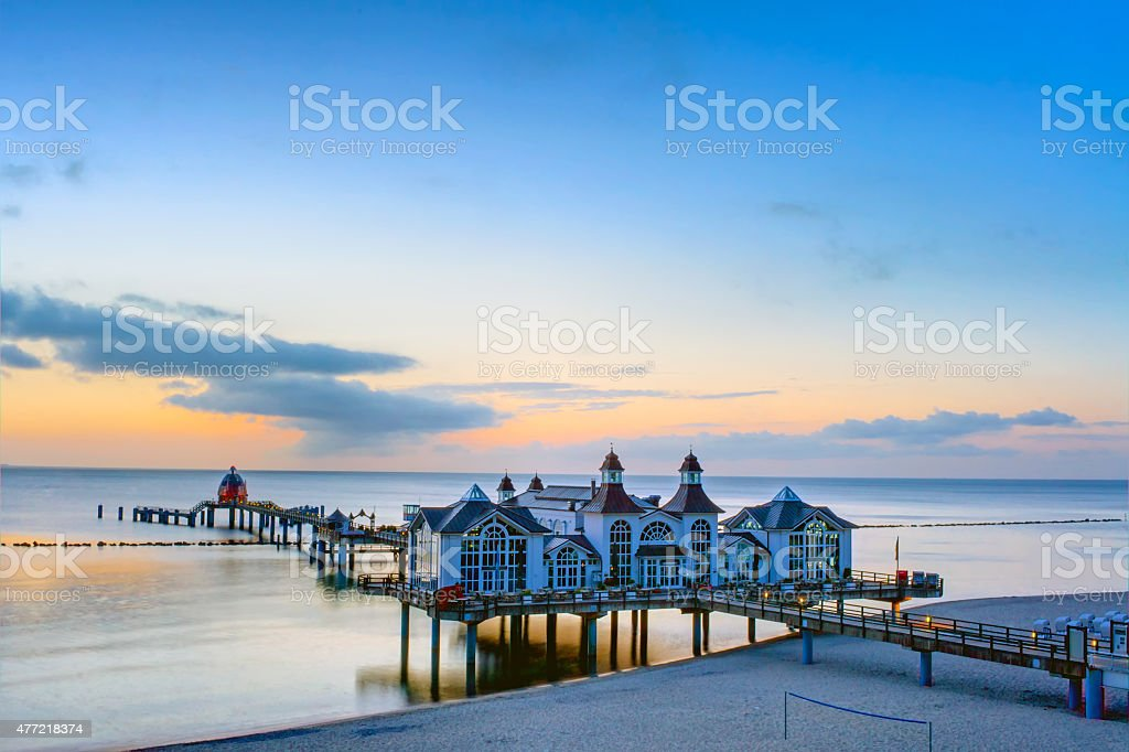 The pier of Sellin at dusk stock photo